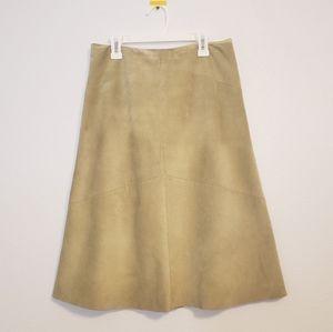Banana Republic Leather Green A-Line Skirt